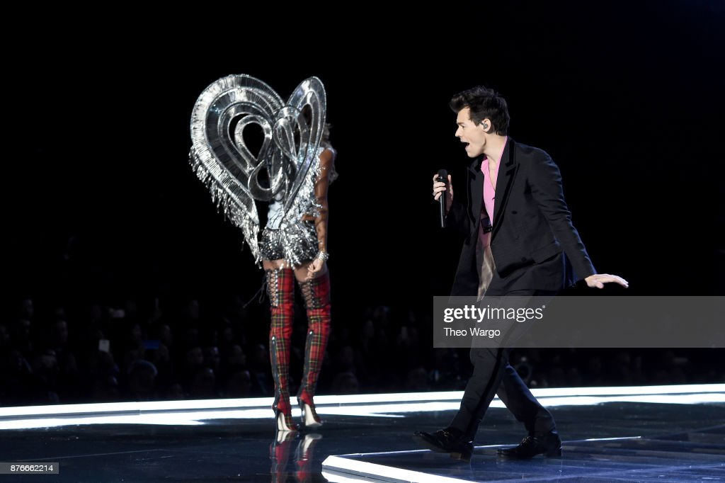 Jasmine Tookes and Harry Styles walk the runway during the 2017 Victoria's Secret Fashion Show In Shanghai at Mercedes-Benz Arena on November 20, 2017 in Shanghai, China.
