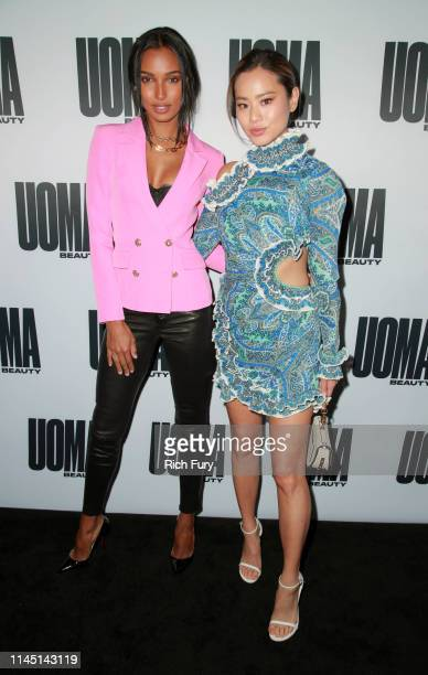 Jasmine Tookes and Jamie Chung attend the House of Uoma's launch of the Uoma Beauty makeup brand at NeueHouse Hollywood on April 25, 2019 in Los...