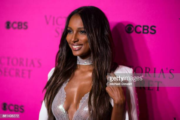 Jasmine Tookes attends the 2017 Victoria's Secret Fashion Show viewing party pink carpet at Spring Studios on November 28 2017 in New York City