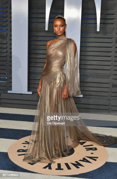 Jasmine Tookes attends the 2018 Vanity Fair Oscar Party hosted by Radhika Jones at Wallis Annenberg Center for the Performing Arts on March 4, 2018...