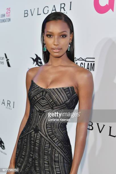 Jasmine Tookes attends the 26th annual Elton John AIDS Foundation Academy Awards Viewing Party sponsored by Bulgari celebrating EJAF and the 90th...