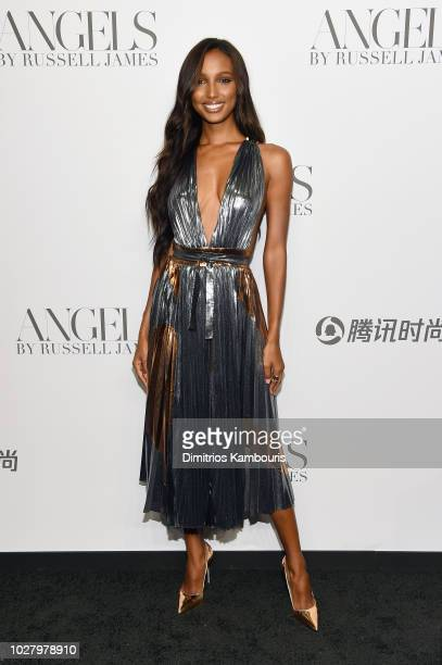 Jasmine Tookes attends the ANGELS by Russell James book launch and exhibit hosted by Cindy Crawford and Candice Swanepoel at Stephan Weiss Studio on...