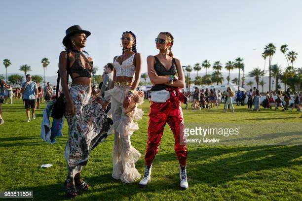 Jasmine Tookes Lais Ribeiro and Romeo Strijd during day 1 of the 2018 Coachella Valley Music Arts Festival Weekend 1 on April 13 2018 in Indio...