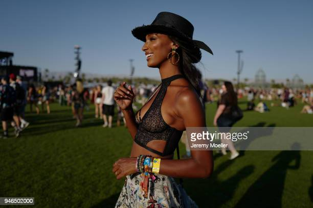 Jasmine Tookes wearing a Victoria Secret BH during day 1 of the 2018 Coachella Valley Music Arts Festival Weekend 1 on April 13 2018 in Indio...