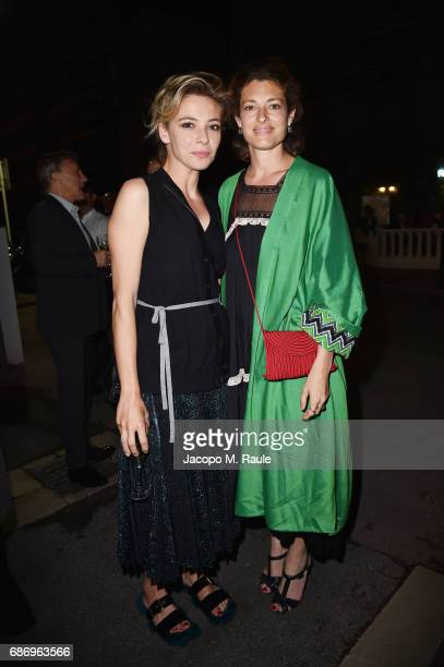 Jasmine Trinca and Ginevra Elkann attend Fondazione Prada Private Dinner during the 70th annual Cannes Film Festival at Restaurant Fred L'Ecailler on...