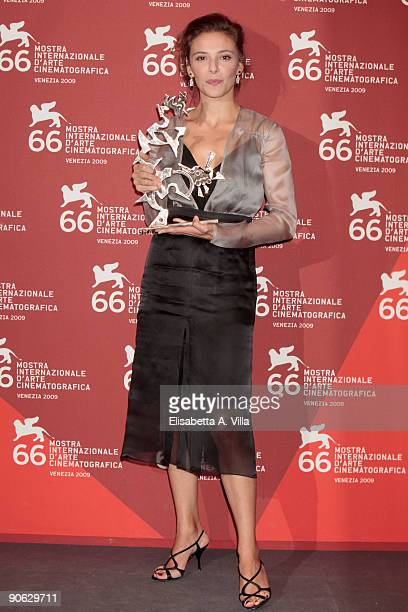 Jasmine Trinca poses with her Best Young Actress award while attending the Closing Ceremony photocall at the Palazzo del Casino during the 66th...