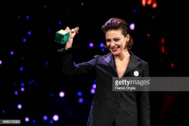 Jasmine Trinca receives the Best Actress Award during the 62nd David Di Donatello awards ceremony on March 21 2018 in Rome Italy