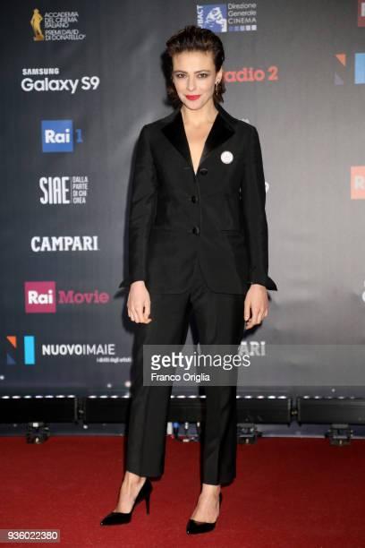 Jasmine Trinca walks a red carpet ahead of the 62nd David Di Donatello awards ceremony on March 21 2018 in Rome Italy