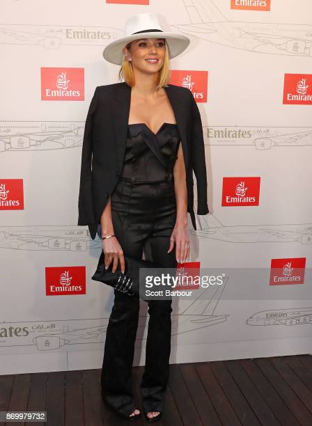 Jasmine Yarbrough attends the Emirates Marquee on Derby Day at Flemington Racecourse on November 4 2017 in Melbourne Australia
