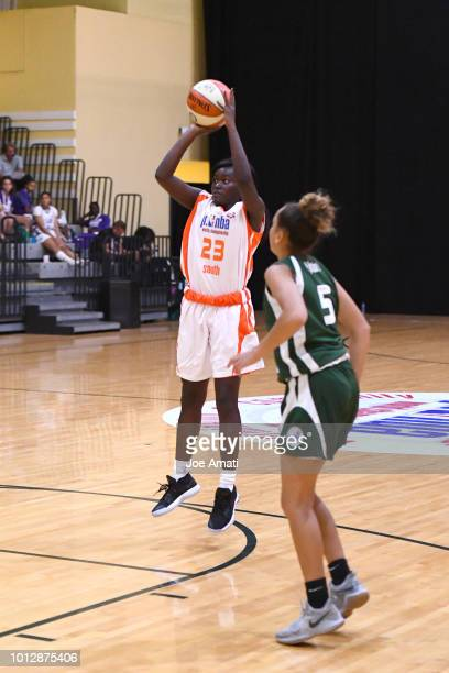 Jasmyn Lott of South Girls shoots the ball against Midwest Girls during the Jr NBA World Championship on August 7 2018 at the ESPN Wide World of...