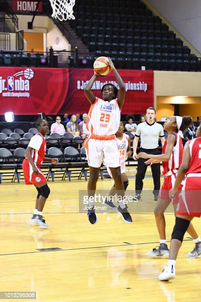 Jasmyn Lott of the South Girls shoots the ball against the MidAtlantic Girls during the Jr NBA World Championship on August 8 2018 at ESPN Wide World...