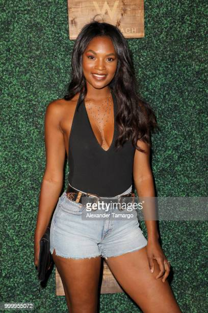 Jasmyn Wilkins attends the 2018 Sports Illustrated Swimsuit show at PARAISO during Miami Swim Week at The W Hotel South Beach on July 15 2018 in...