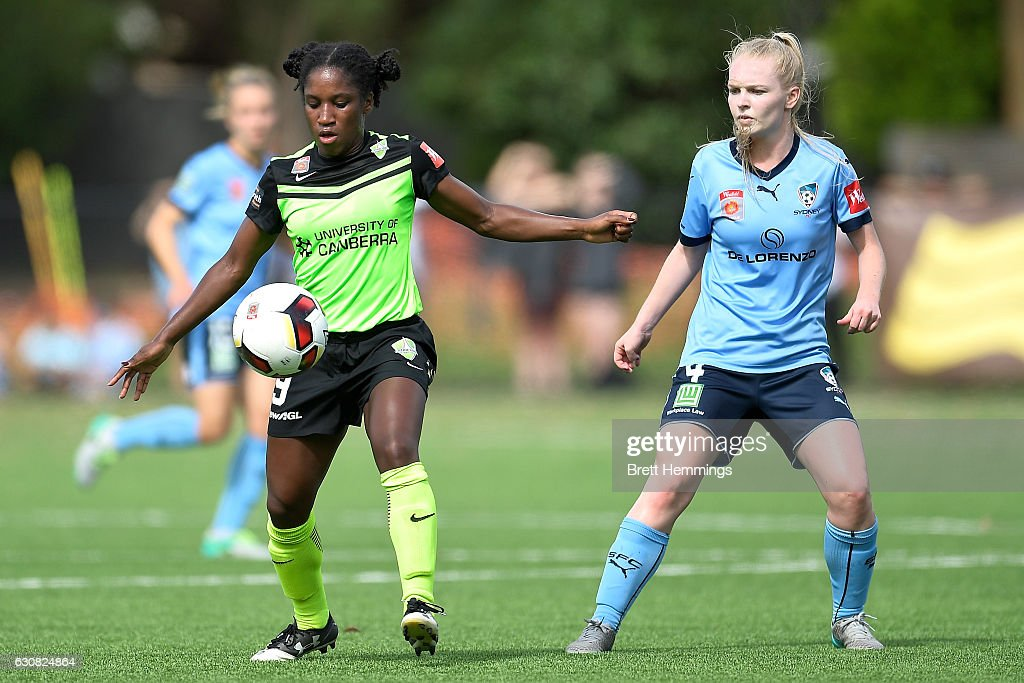 Jasmyne Spencer of Canberra controls the ball during the round 10 W-League match between Sydney and Canberra at Lambert Park on January 3, 2017 in Sydney, Australia.