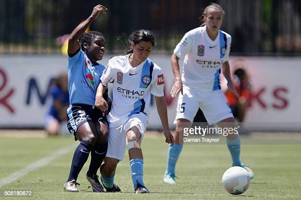 Jasmyne Spencer of Sydney FC and Alex Chidiac of Melbourne City compete for the ball during the round 14 WLeague match between Melbourne City FC and...