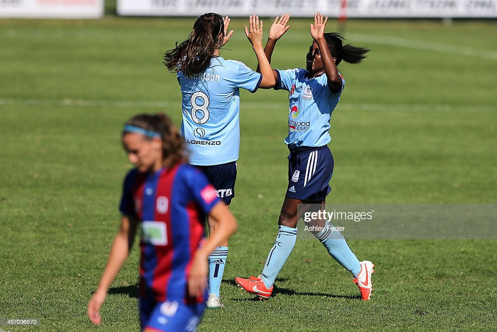 Jasmyne Spencer of Sydney FC celebrates kicking a goal during the round five W-League match between the Newcastle Jets and Sydney FC at Magic Park on October 11, 2014 in Newcastle, Australia.