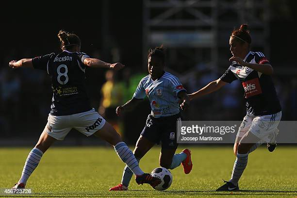 Jasmyne Spencer of Sydney FC runs with the ball during the round four WLeague match between Sydney and Melbourne at Lambert Park on October 6 2014 in...
