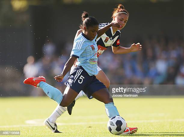 Jasmyne Spencer of Sydney FC shoots on goal during the round four WLeague match between Sydney and Melbourne at Lambert Park on October 6 2014 in...
