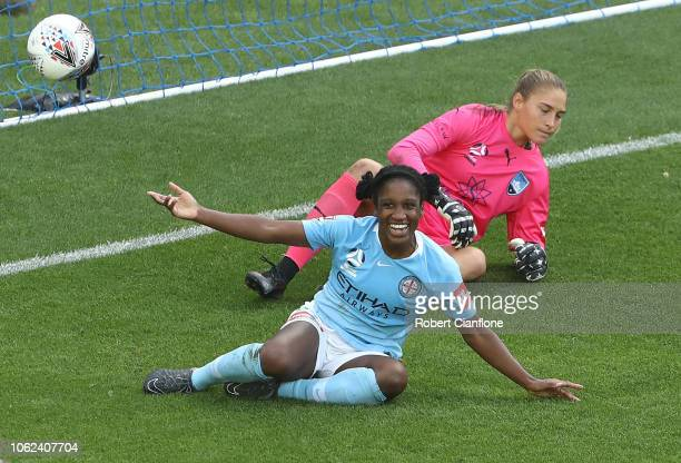 Jasmyne Spencer of the Melbourne City celebrates after scoring a goal during the round two WLeague match between Melbourne City and Sydney FC at AAMI...