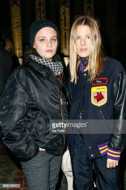 Jasna Fritzi Bauer and Aino Laberenz during the Fashion HAB show presented by MercedesBenz at Halle am Berghain on January 17 2018 in Berlin Germany