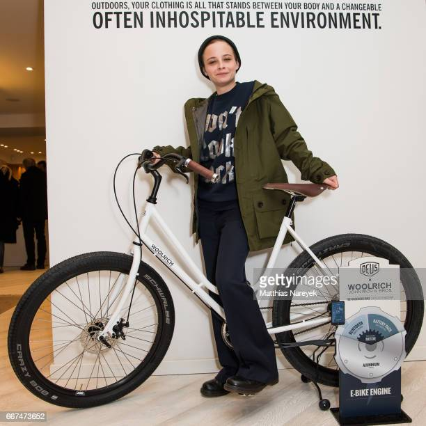 Jasna Fritzi Bauer attends the opening of the 'Good Wibes Bike Bar' to present the new ebike by Woolrich Deus at the Woolrich Store on April 11 2017...