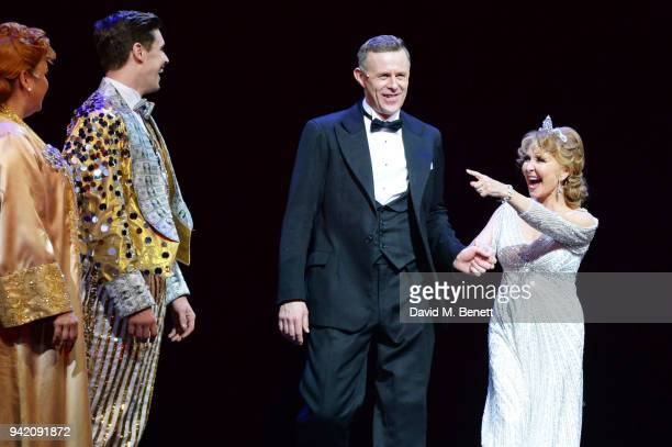 Jasna Ivir Ashley Day Tom Lister and Lulu bow onstage during the curtain call at the 42nd Street 1st Anniversary Gala Performance featuring new cast...