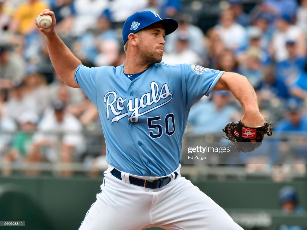 Jason Adam #50 of the Kansas City Royals throws in the ninth inning aNew York Yankees at Kauffman Stadium on May 20, 2018 in Kansas City, Missouri.