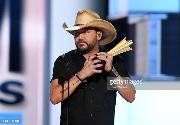 Jason Aldean accepts the ACM Dick Clark Artist of the Decade Award onstage during the 54th Academy Of Country Music Awards at MGM Grand Garden Arena...