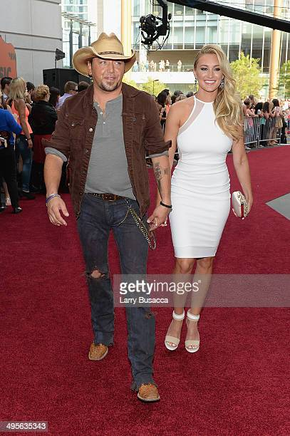 Jason Aldean and Brittany Kerr attend the 2014 CMT Music awards at the Bridgestone Arena on June 4, 2014 in Nashville, Tennessee.