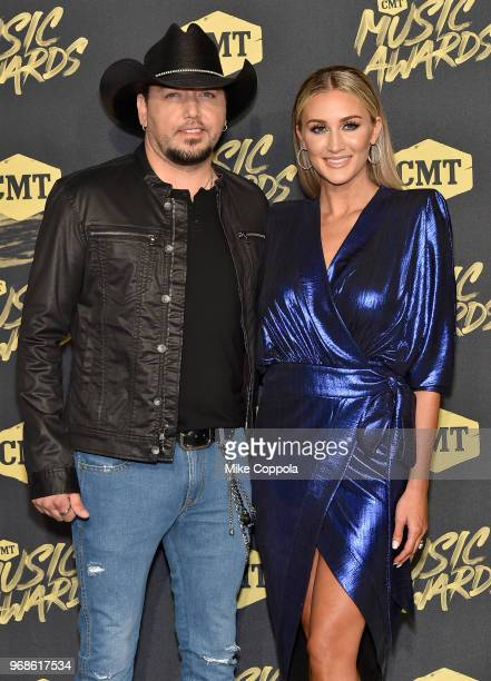 Jason Aldean and Brittany Kerr attend the 2018 CMT Music Awards at Bridgestone Arena on June 6, 2018 in Nashville, Tennessee.