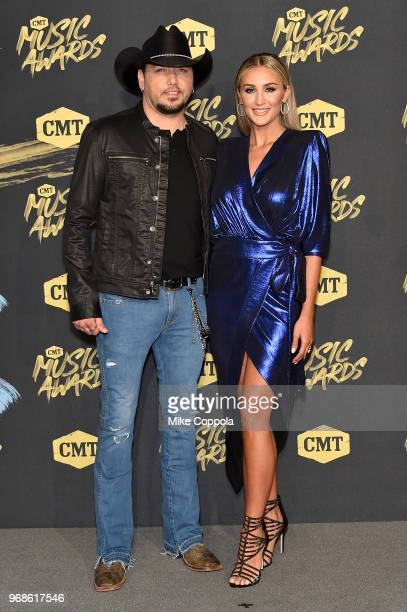 Jason Aldean and Brittany Kerr attend the 2018 CMT Music Awards at Bridgestone Arena on June 6 2018 in Nashville Tennessee