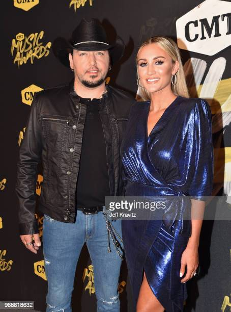 Jason Aldean and Brittany Kerr attend the 2018 CMT Music Awards at Nashville Municipal Auditorium on June 6, 2018 in Nashville, Tennessee.