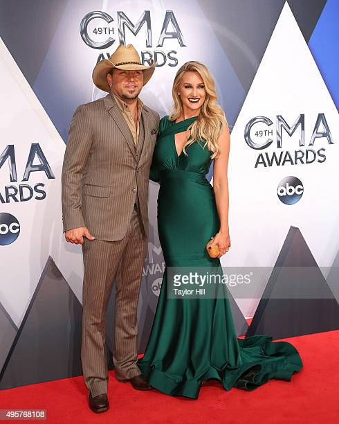 Jason Aldean and Brittany Kerr attend the 49th annual CMA Awards at the Bridgestone Arena on November 4, 2015 in Nashville, Tennessee.
