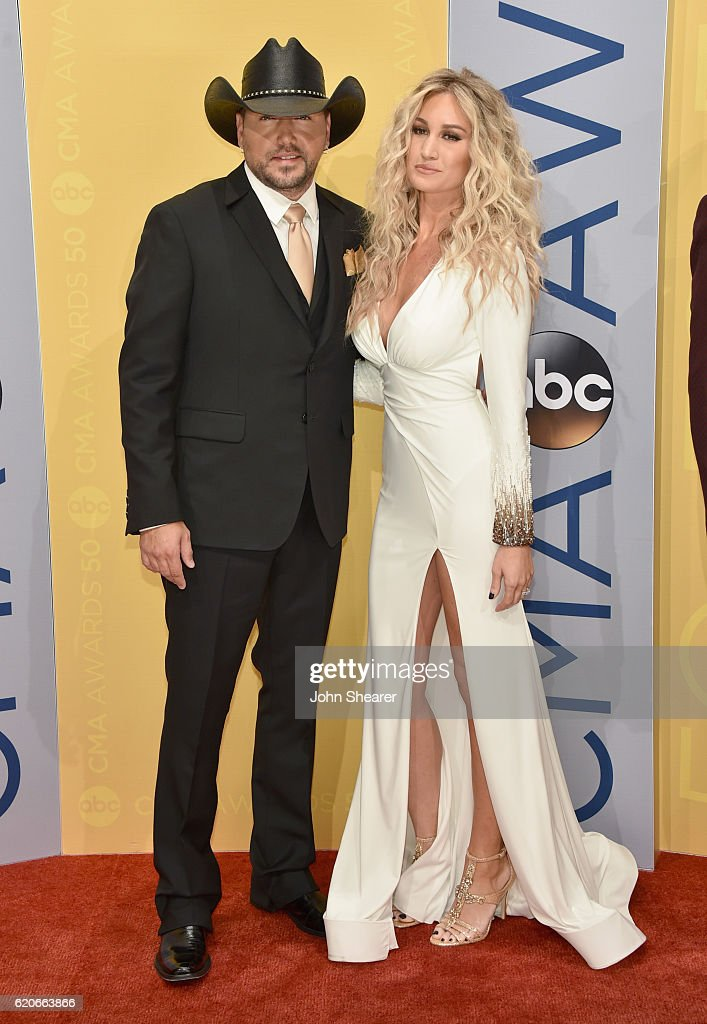 Jason Aldean and Brittany Kerr attend the 50th annual CMA Awards at the Bridgestone Arena on November 2, 2016 in Nashville, Tennessee.
