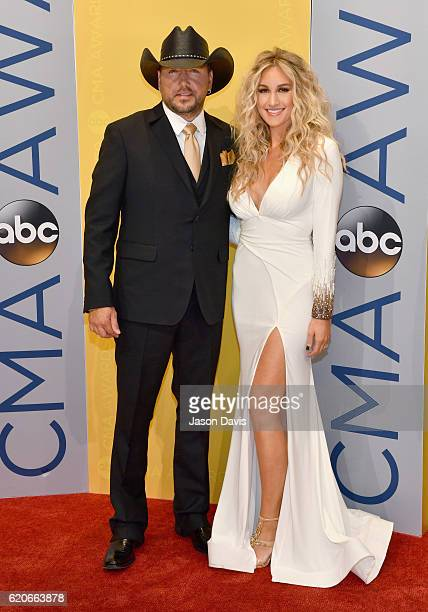 Jason Aldean and Brittany Kerr attend the 50th annual CMA Awards at the Bridgestone Arena on November 2 2016 in Nashville Tennessee