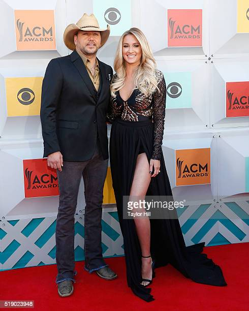 Jason Aldean and Brittany Kerr attend the 51st Academy Of Country Music Awards at MGM Grand Garden Arena on April 3 2016 in Las Vegas Nevada