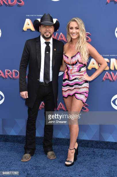 Jason Aldean and Brittany Kerr attend the 53rd Academy of Country Music Awards at MGM Grand Garden Arena on April 15 2018 in Las Vegas Nevada