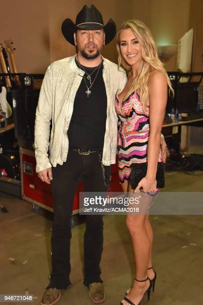 Jason Aldean and Brittany Kerr attend the 53rd Academy of Country Music Awards at MGM Grand Garden Arena on April 15, 2018 in Las Vegas, Nevada.