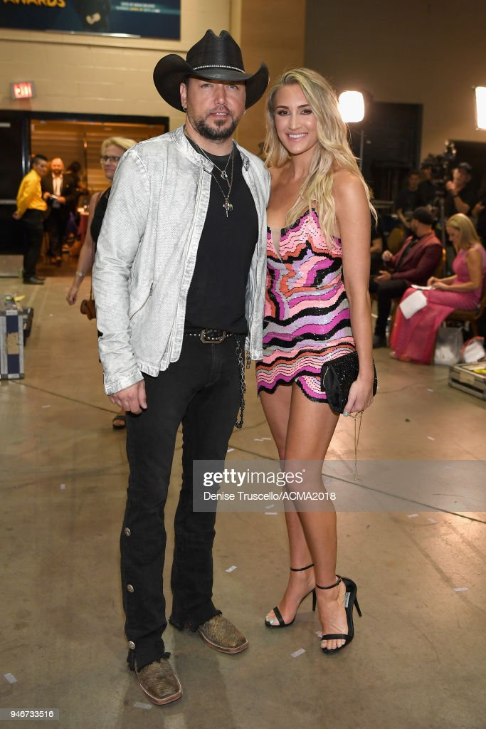 Jason Aldean (L) and Brittany Kerr attend the 53rd Academy of Country Music Awards at MGM Grand Garden Arena on April 15, 2018 in Las Vegas, Nevada.