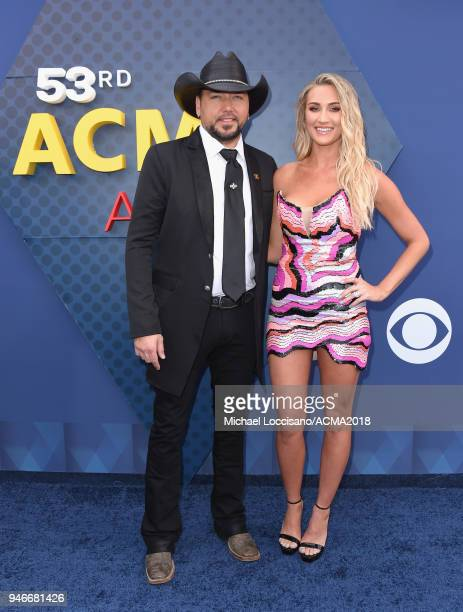 Jason Aldean and Brittany Kerr attends the 53rd Academy of Country Music Awards at MGM Grand Garden Arena on April 15 2018 in Las Vegas Nevada
