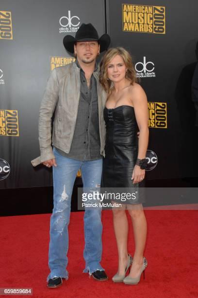 Jason Aldean and Jessica Aldean attend 2009 AMERICAN MUSIC AWARDS at NOKIA Theatre LA Live on November 22 2009 in Los Angeles California