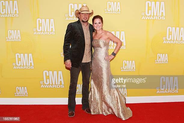 Jason Aldean and Jessica Aldean attend the 46th annual CMA Awards at the Bridgestone Arena on November 1 2012 in Nashville Tennessee