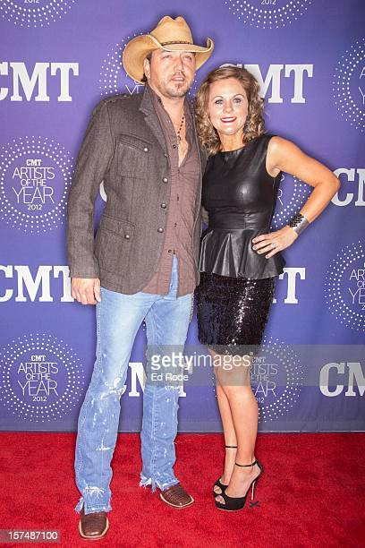 Jason Aldean and Jessica Aldean attend the CMT Artist of the Year Awards at The Factory At Franklin on December 3 2012 in Franklin Tennessee