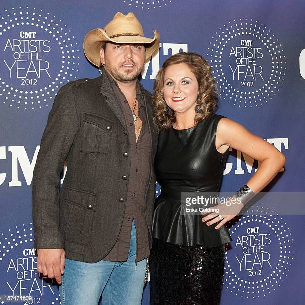 "Jason Aldean and Jessica Ussery Aldean attend the 2012 CMT ""Artists Of The Year"" Awards at The Factory At Franklin on December 3, 2012 in Franklin,..."