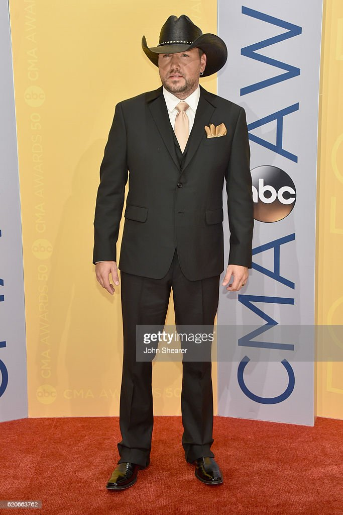 Jason Aldean attends the 50th annual CMA Awards at the Bridgestone Arena on November 2, 2016 in Nashville, Tennessee.