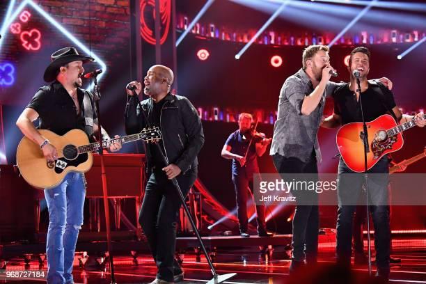 Jason Aldean Darius Rucker Charles Kelley and Luke Bryan perform onstage at the 2018 CMT Music Awards at Bridgestone Arena on June 6 2018 in...