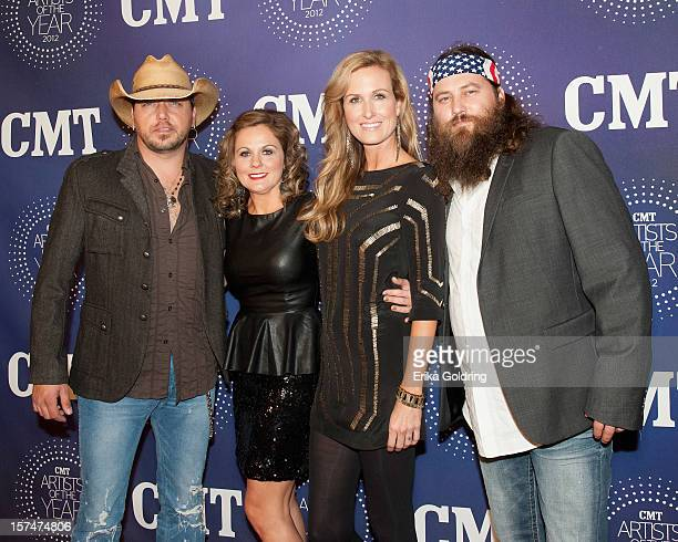 Jason Aldean Jessica Ussery Aldean Korie Robertson and Willie Robertson attend the 2012 CMT Artists Of The Year Awards at The Factory At Franklin on...