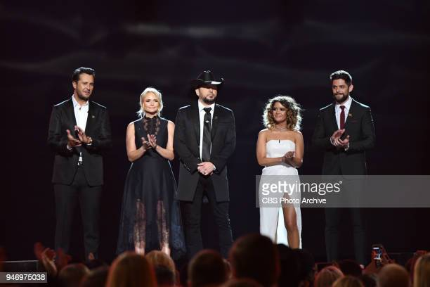 Jason Aldean Luke Bryan Miranda Lambert Maren Morris and Thomas Rhett are seen onstage at the 53RD ACADEMY OF COUNTRY MUSIC AWARDS live from the MGM...