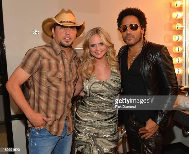 Jason Aldean Miranda Lambert and Lenny Kravitz attend the 2013 CMT Music awards at the Bridgestone Arena on June 5 2013 in Nashville Tennessee