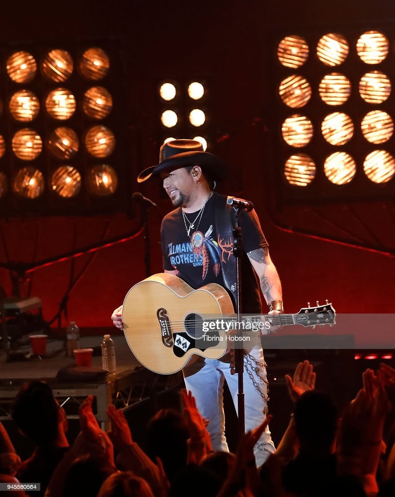 Jason Aldean performs at his album release party at iHeartRadio Theater on April 12, 2018 in Burbank, California.