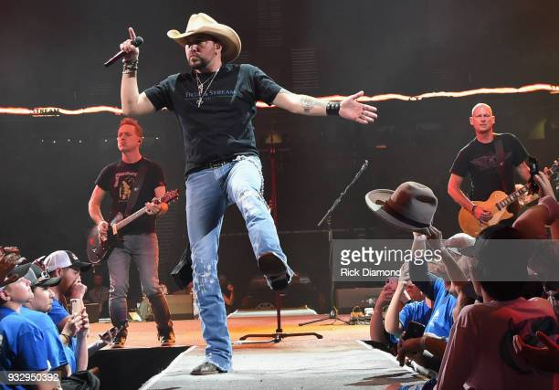 Jason Aldean performs at the Field Stream PopUp Show at the 2018 Bassmaster Classic on March 16 2018 in Greenville South Carolina